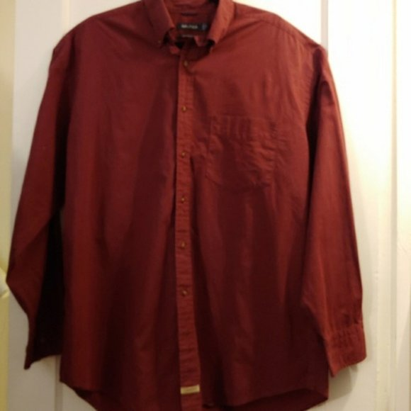 Men's Nautica Burgundy Plaid Button Down Shirt